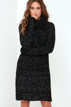 Cozy is just the tip of the iceberg when it comes to the Bushel and a Peck Ivory and Black Speckled Sweater Dress! Thick, black knit is speckled with ivory, together shaping a loose cowl neckline between the long, tapered sleeves. Straight-cut bodice offers a comfy fit and ends in a notched hemline. Unlined. 100% Acrylic. Hand Wash Cold. Imported.