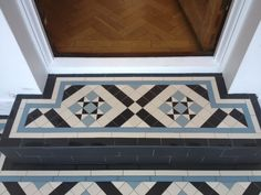 Victorian floor tiles and contemporary geometric ceramic tiles. Specialists in the design and supply of mosaic tile schemes. Front Path, Front Porch Steps, Front Door Porch, Outdoor Step Tiles, Outdoor Steps, Victorian Front Garden, Victorian Front Doors, Porch Tile, Porch Flooring