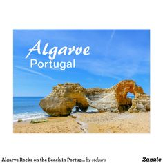 Shop Algarve Rocks on the Beach in Portugal Postcard created by stdjura. Algarve, Portugal, Rocks, Beach, Water, Photography, Outdoor, Gripe Water, Outdoors