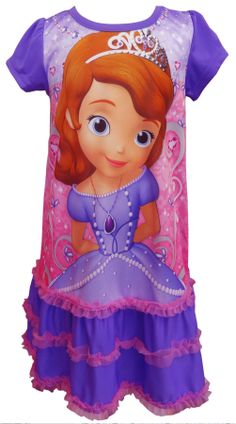 Sofia The First Toddler Nightgown With Ruffle Hem Any Sofia fan will love this nightgown! These flame resistant nightgowns for ...