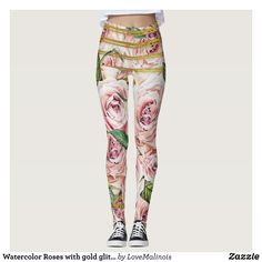 Watercolor Roses with gold glitter stripes Leggings - Printed #Yoga #Leggings & Running Tights Creative Workout and #Gym #Fashion Designs From International Artists - #pilates #exercise #crossfit #workout #tights #running #sports #design #fashiondesign #designer #fashiondesigner #style #pants