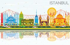 Istanbul Skyline with Color Landmarks, Blue Sky and Reflections. - Buildings Objects Download here : https://graphicriver.net/item/istanbul-skyline-with-color-landmarks-blue-sky-and-reflections/20086594?s_rank=265&ref=Al-fatih