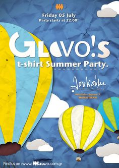 Poster created for GloVo's Volunteer t-shirt Summer Party. Restaurant Bar, Vintage Shops, Party, Summer, T Shirt, Poster, Supreme T Shirt, Summer Time, Tee Shirt