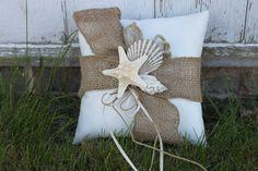 Rustic Seashell Ring Bearer Pillow/ Beach by CoastalDreamWeddings