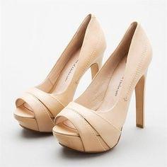 beige peep toe shoes