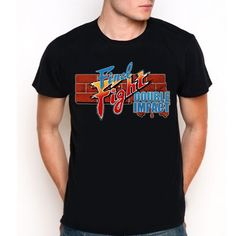 Final Fight Double Impact Video Game Fighting Logo Black T-Shirt Tee All Size