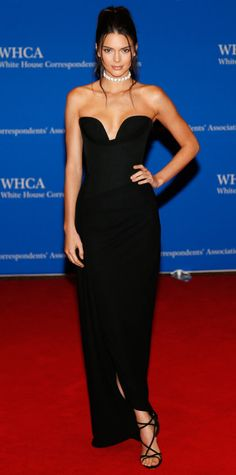 Jenner chose a curve-hugging draped Vivienne Westwood gown complete with a '90-esque diamond choker and strappy black heels for the White House Correspondents Dinner.