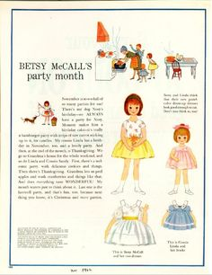 Vintage November 1962 Magazine Paper Doll of Betsy McCall Party Month.  I LOVED Betsy McCall!!!! ❤️❤️❤️