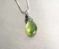 Peridot Necklace in Sterling Silver by Kris P Studio, August #birthstone, natural gemstone