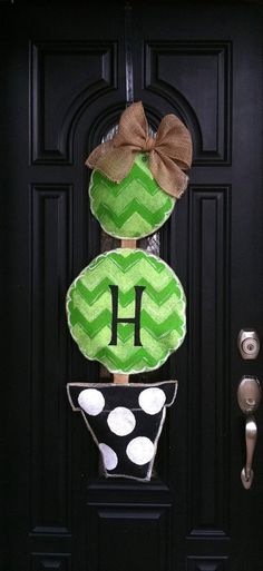 Large Chevron Topiary Burlap Door Hanger Personalized with your Monongram..
