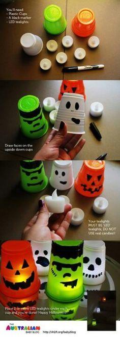Des petites lanternes d'Halloween réalisées avec quelques gobelets
