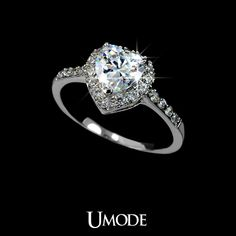 White Gold plated Heart Shaped Cubic Zirconia with micro CZs Cluster Setting Engagement Ring (Umode UR0008B) $7.96