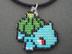 Handmade Seed Bead Bulbasaur Necklace by Pixelosis on Etsy, $16.00