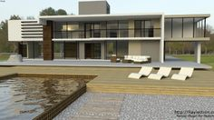 Original by max2. Modified and fixed back faces. Rendered with Raylectron using an outdoor environment map. Full model included here, not just the rendered screen shot. #house #modern #raylectron #render