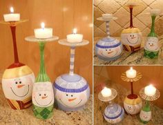 Snowman wineglass candle holder