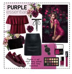 """♡purple essentials...♡"" by clarinette38 on Polyvore featuring McQ by Alexander McQueen, Lancôme, NARS Cosmetics, Chanel, Puma, Miss Selfridge, Daniel Wellington and Joomi Lim"