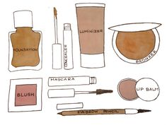 Makeup Illustration by Ana for Better Than Ann Makeup Illustration, Bronzer, Lip Balm, Mascara, Blush, Lips, Journaling, Ann, Beauty