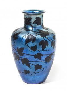 Tiffany Studios Wheel Carved Blue Favrile Glass Vase