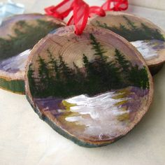 Rustic Snowy Mountain Christmas Ornament por AndieFreemanArt, $8.00