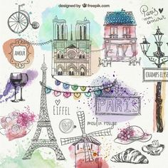 Purchase Paris City Decoration Collection Eiffel Tower Bridge Capital City Bedroom Living Room Dormitory Wall Hanging Tapestry from Shenzhen Wanweile Network Tech on OpenSky. Paris Kunst, Mini Album Scrapbook, Art Parisien, Image Paris, A Day In Paris, Illustrator, Doodles, Paris City, Tapestry Wall Hanging