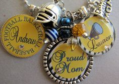 Football Necklace Proud Mom Silver Pendant Necklace by buttonit, $30.00