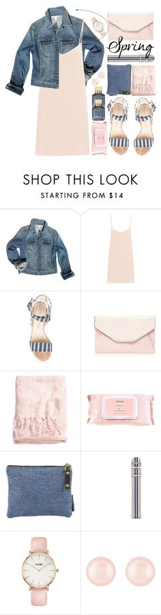 """Spring Pink Silk Dress Denim Jacket"" by jiabao-krohn ❤ liked on Polyvore featuring Boston Proper, Raey, Red Herring, H&M, Mamonde, FOSSIL, CLUSE, Henri Bendel, Maison Francis Kurkdjian and denimjacket"
