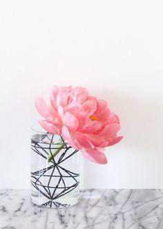 Glass Vase with Geo Insert