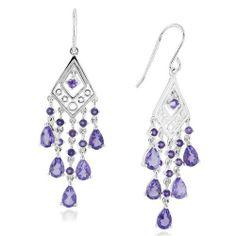Amethyst Chandelier Earrings in Sterling Silver: Jewelry: Amazon.com