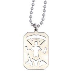 Stainless Steel St. Michael Pendant w/ Beaded Chain - 24 inch
