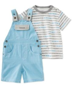 Calvin Klein Baby Boys' 2-Piece Stripe T-Shirt & Blue Shortall Set  | macys.com