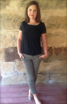 Amy's Creative Pursuits Studded Sleeve Black shirt with Olive Green Pants