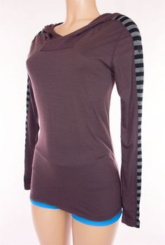 LULULEMON Long Sleeve Run Hoodie Size S Small Purple Black Gray Stripe Shirt #Lululemon #ShirtsTops