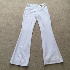"""NWT Cache Fully Lined White Pants NWT Cache Fully Lined White Pants .  Beautiful and chic. 65% polyester, 35% rayon, 3% spandex (lining 100% polyester). Inseam 32.5"""" Leg Opening 20"""" Cache Pants"""