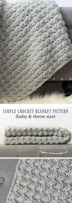 I love the simplicity of this beautiful crochet blanket. Free pattern for a baby afghan or throw size.