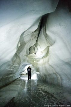Glacier caving, Svalbard, Norway
