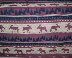 MOOSE TREES LEAVES UPHOLSTERY CASCO FABRIC LODGE TREE CHENILLE RUSTIC WILDLIFE