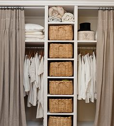 Tempting to remove the closet doors and replace with curtains to give the room a more retail store dressing room feel Closet Bedroom, Bedroom Storage, Home Bedroom, Bedroom Decor, Bedrooms, Ikea Closet, Master Closet, Diy Wardrobe, Wardrobe Storage