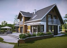 Herbert - murowana – beton komórkowy - zdjęcie 3 Home Fashion, My Dream Home, Planer, Villa, Exterior, House Design, Cabin, Flooring, Mansions