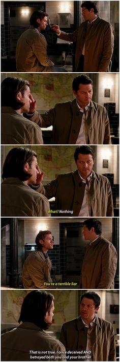 "[gifset] 9x11 First Born - Sam: ""You're a terrible liar."" Cas: ""Am not!!"""