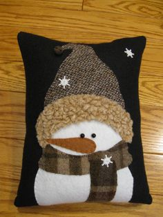 Winter Snowman Pillow....All Bundled Up by Justplainfolk on Etsy