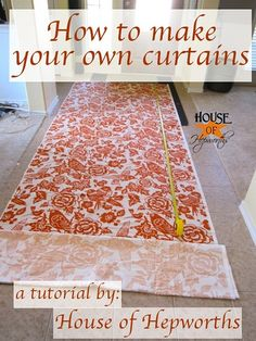How to make custom, lined curtains. There is also a great DIY curtain rod tutorial on this site.