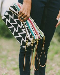 Black White and Gold Triangle Clutch by SparrowSociety  // Support Job Creation and Skills Development in South Africa through this gorgeous new collection