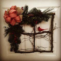 Window Wreath, Unique Christmas Wreath, Christmas Decoration, Red Cardinal Decoration, Front Door Wreath, Rustic Wreath
