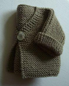 Einfache Strickjacke in Strumpfbandstich - Kashmir - Tricot Pontos Baby Sweater Knitting Pattern, Baby Sweater Patterns, Baby Knitting Patterns, Knit Vest Pattern, Baby Patterns, Crochet Kids Scarf, Crochet Baby Cardigan, Crochet For Kids, Baby Pullover Muster