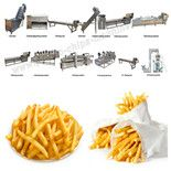 Automatic Frozen French Fries Production Line This automatic frozen French fries production line is special designed for making French fries with large output. Email: info@potato-chips-machine.com