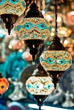 Moroccan style lighting. Pretty for a porch area.