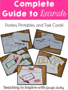 Decimal Resources. Tons of supplemental resources to teach and practice decimal skills and operations. Posters, Printables, Task Cards!