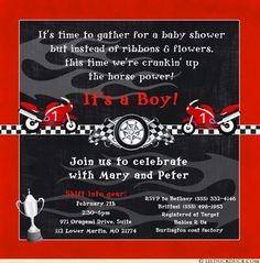 Red Motorcycle Baby Shower Invitations
