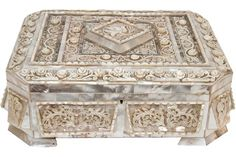 ANTIQUE MOTHER OF PEARL JEWELRY DRESSER BOX