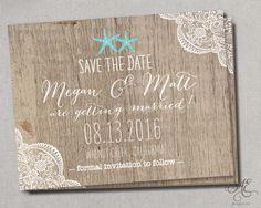 Starfish Nautical Beach Lace Wedding Save the Dates by SAEdesignstudio